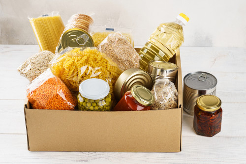 canned, jarred food in box